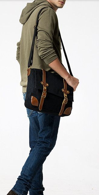 Sleek Laptop Leather Messenger Bag For Men Canvas Messenger Bags