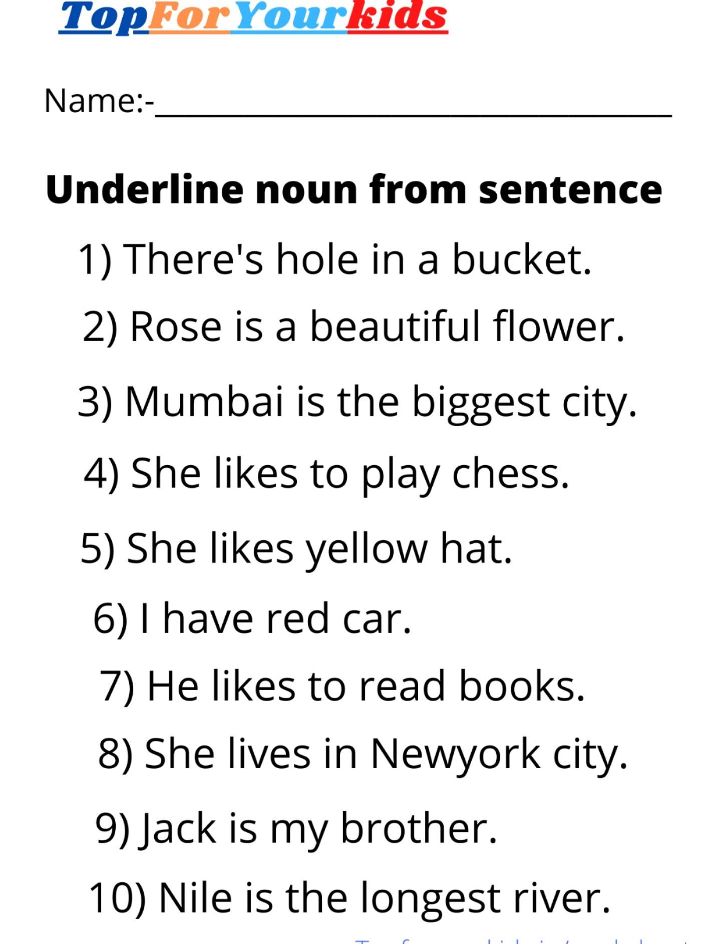 Noun Worksheet Grade 3 Underline Noun From Sentence In
