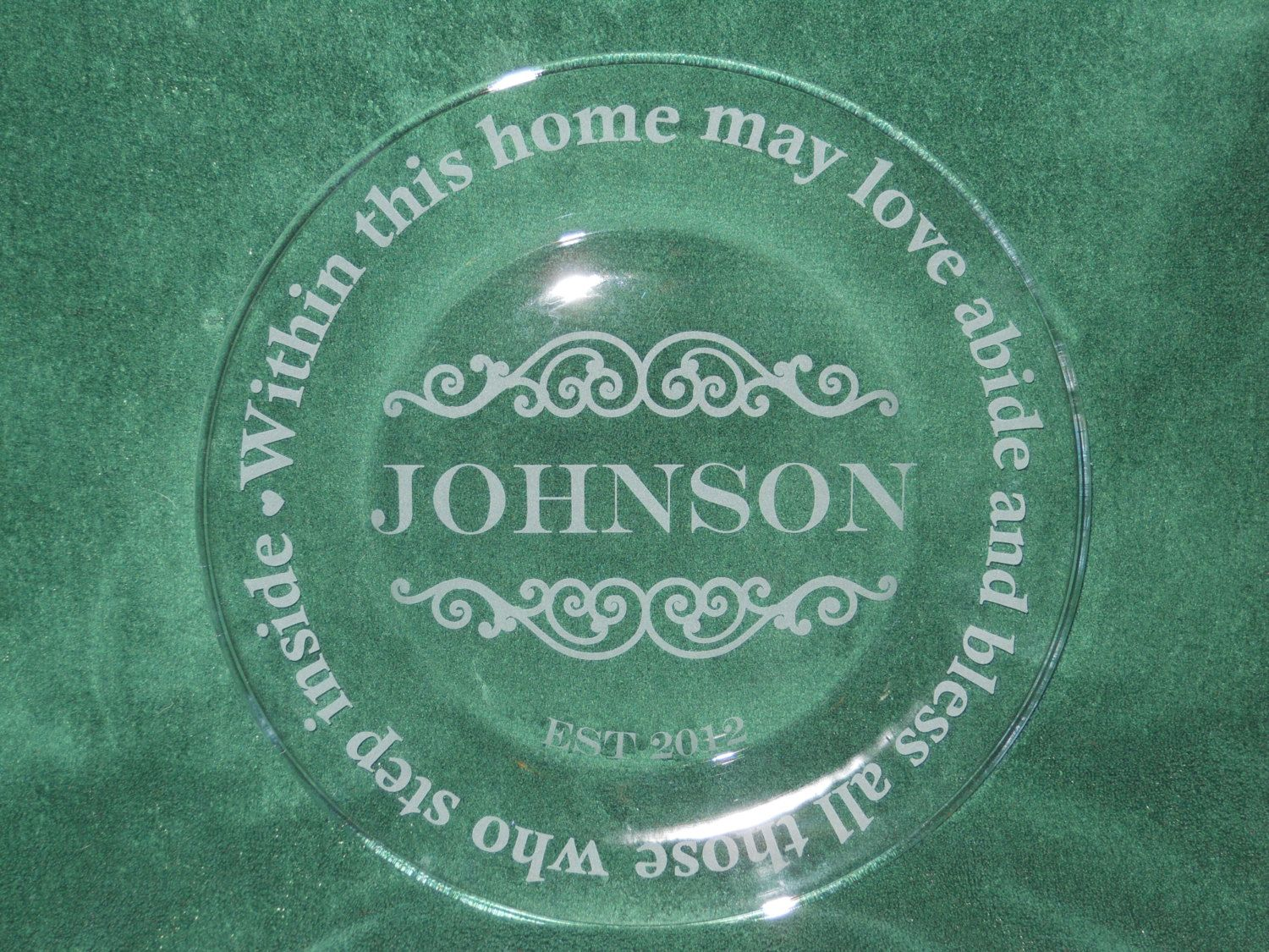 Custom etched sandblasted glass plate name wedding