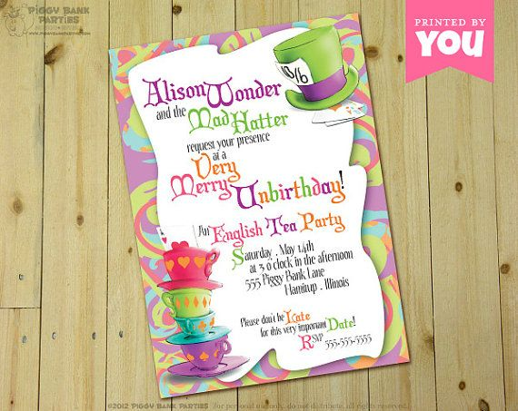 Mad Hatter Invitation Alice In Wonderland Inspired Personalized