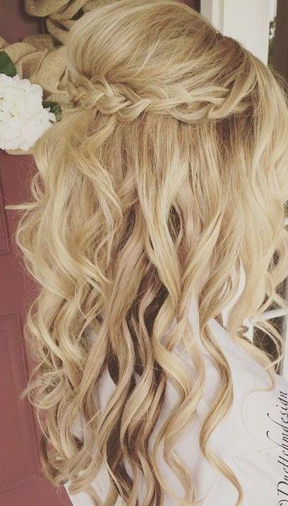 1 2 Up 1 2 Down Curly Wedding Hair Bridal Hair Updo Half Up Hair