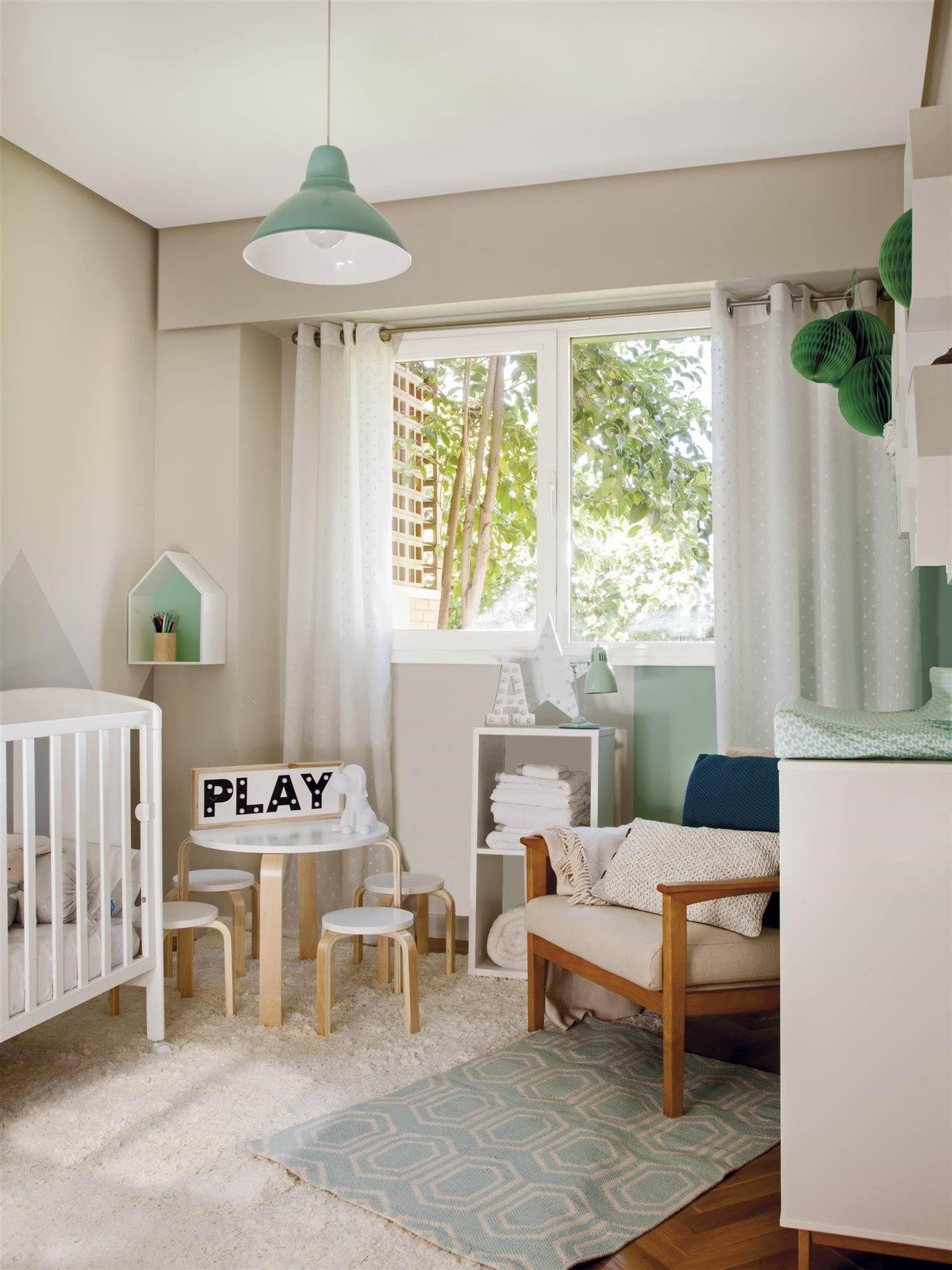 Mg 9438 3 Dormitorio Infantil En Verde Y Blanco Con Una Cuna Y  # Muebles Renovar Jamundi