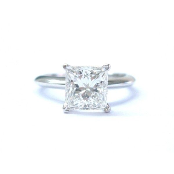 Pre-owned Tiffany & Co. Platinum Diamond Solitaire Engagement Ring (250.210 NOK) ❤ liked on Polyvore featuring jewelry, rings, solitaire engagement rings, princess cut solitaire rings, solitaire ring, diamond solitaire ring and princess cut diamond rings