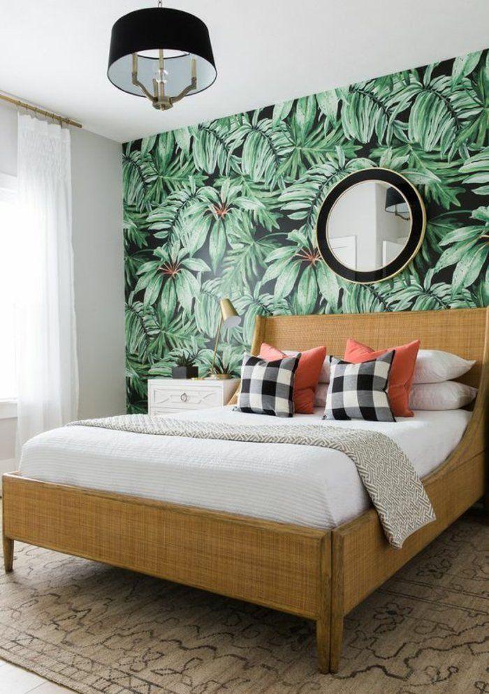 1001 mod les de papier peint tropical et exotique inspiration pinterest papier peint - Deco chambre exotique ...
