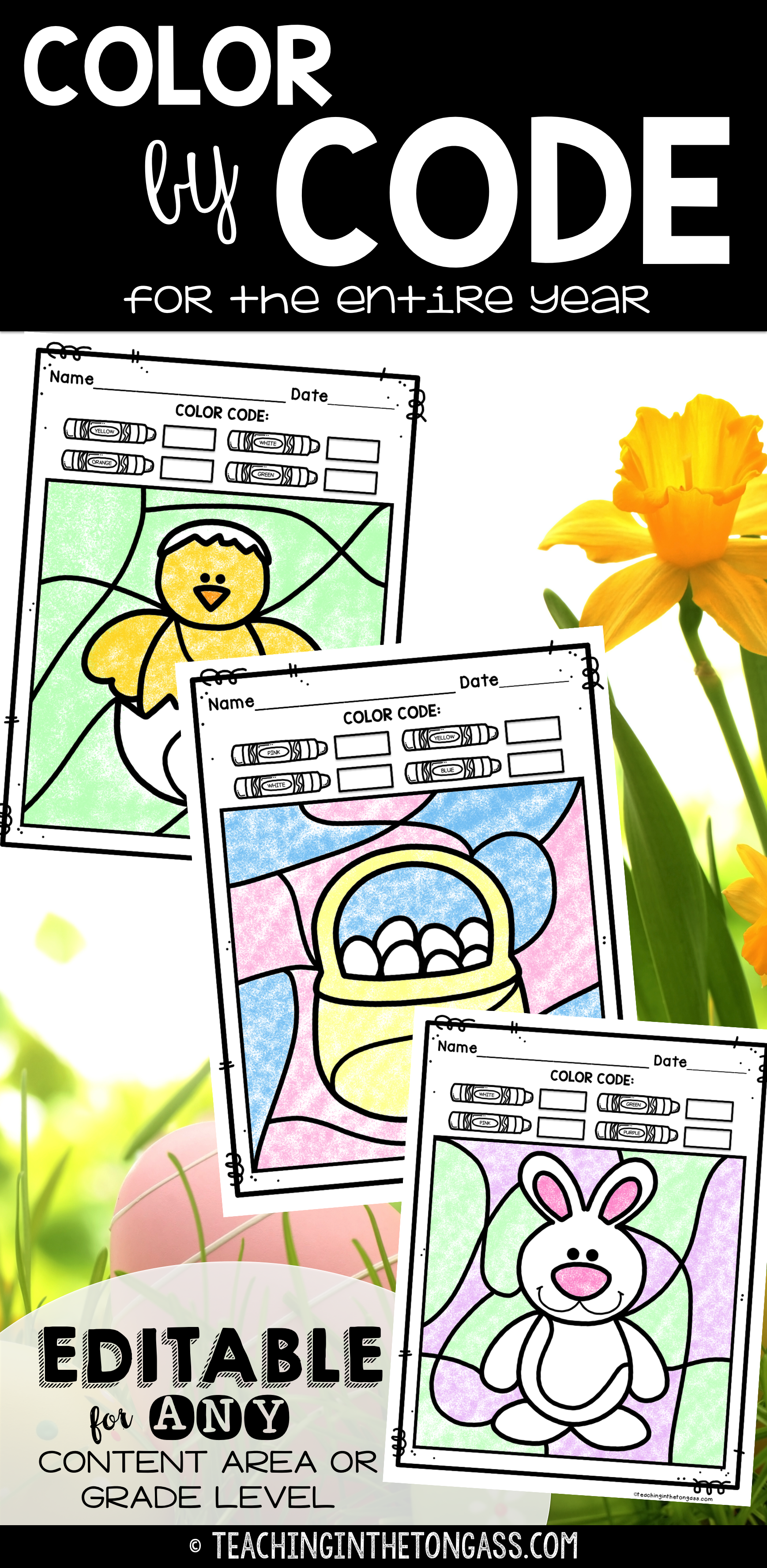 Spring coloring pages color by number - Editable Color By Code Bundle Great End Of The Year Activities Spring Coloring Pagescolor By Numbersspring