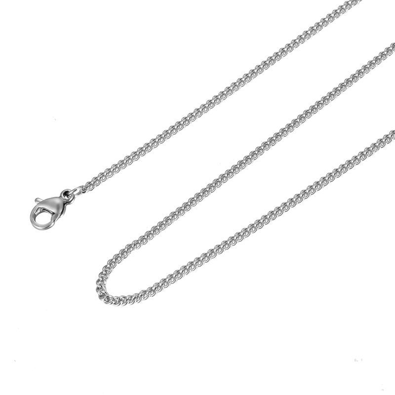 1PC New Fashion Silver Plated Stainless Steel Chain Chains Necklace 60cmx1.9mm