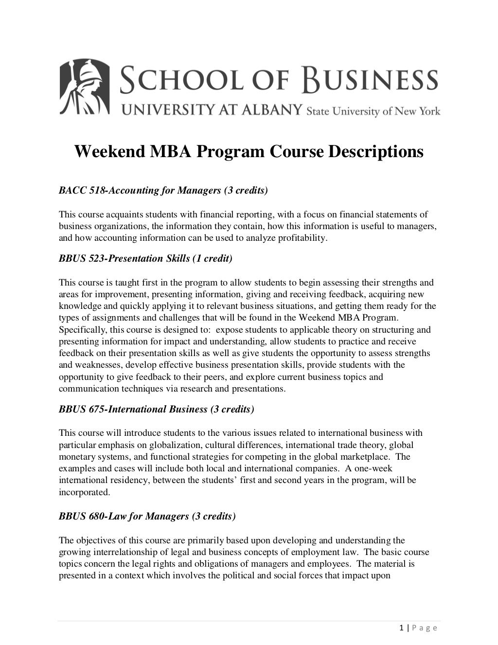 University At Albany Weekend Mba Program Course Descriptions