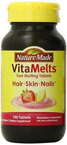 Nature Made Vitamelts Hair Skin Nails Tablets Strawberry Lemonade 100 Count