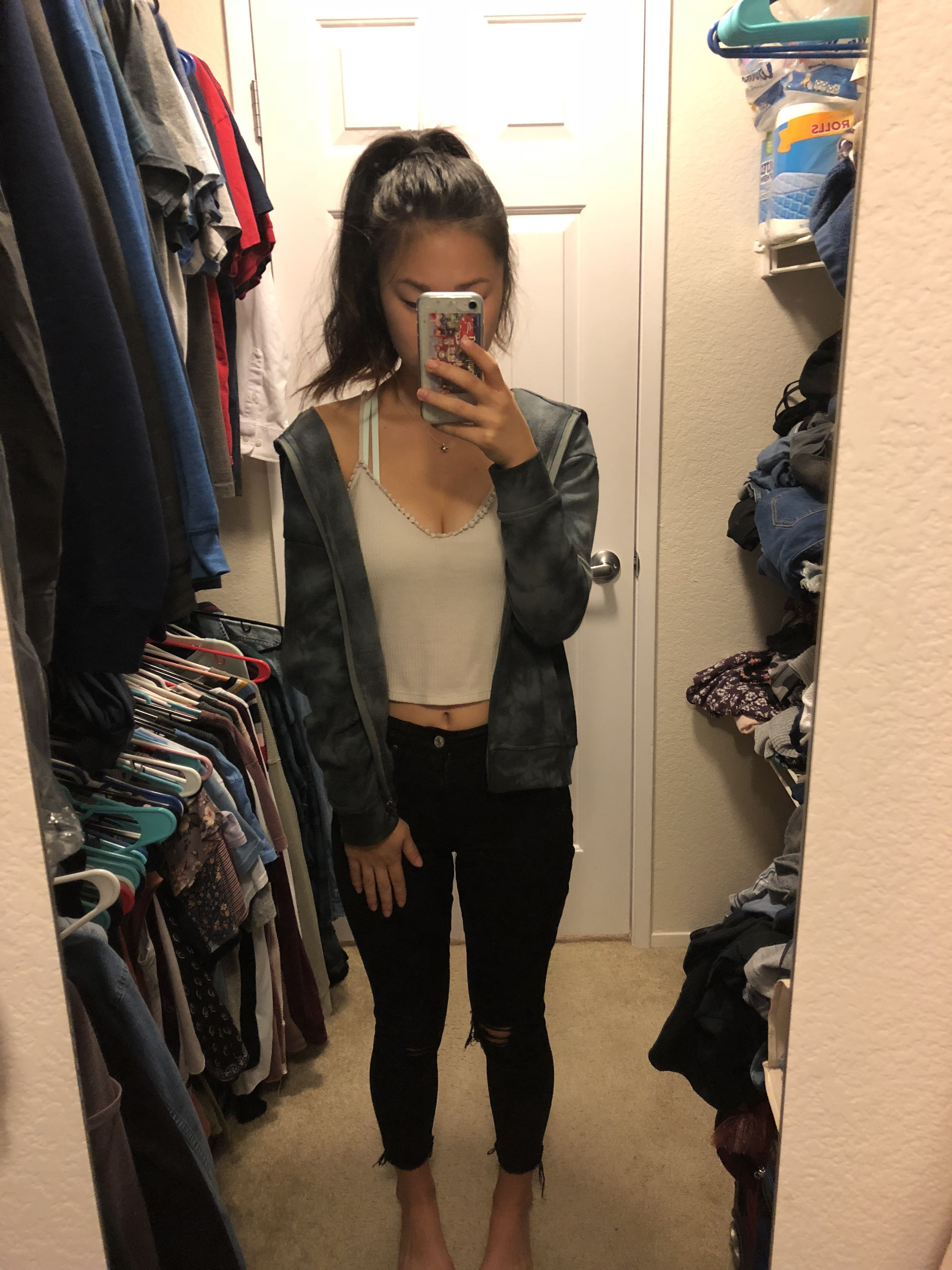 Comfy Day With A Hoodie And Ripped Black Jeans Crop Top Outfits