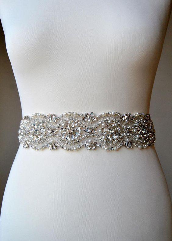 Wedding Dress Sash Belt Lond all around Crystal Bridal Sash ...