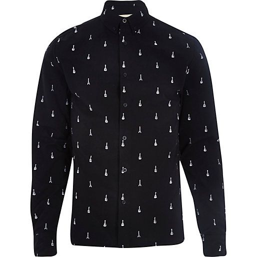 Black RVLT guitar print long sleeve shirt - branded shirts ...
