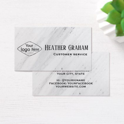 Elegant white marble custom logo business card reheart Choice Image