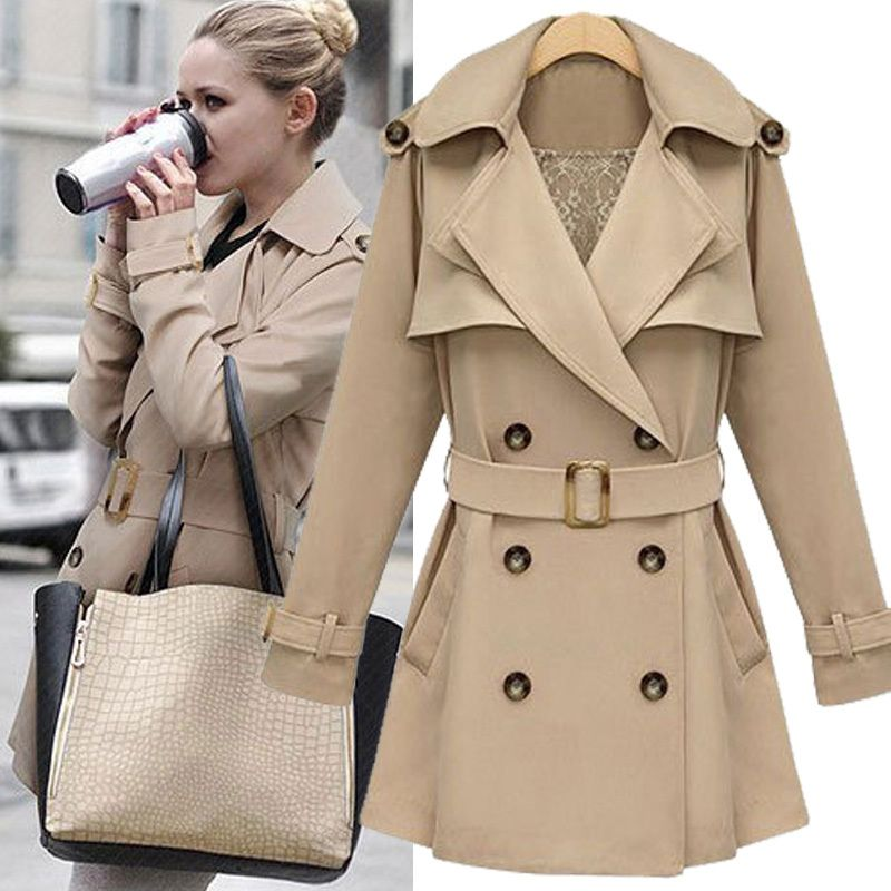 Collection Khaki Trench Coat Women Pictures - Reikian