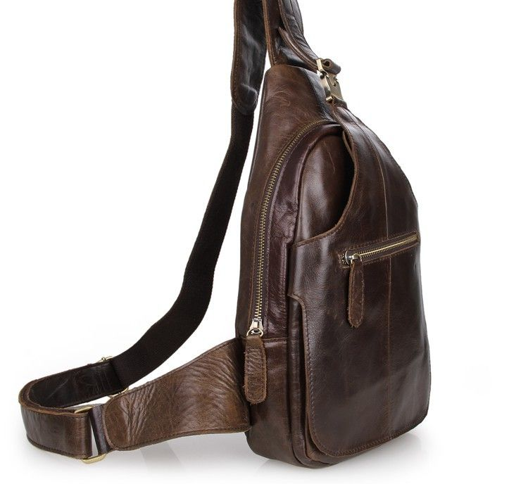 Mens Leather Bags : Genuine Leather Men's Backpack Cross Chest ...