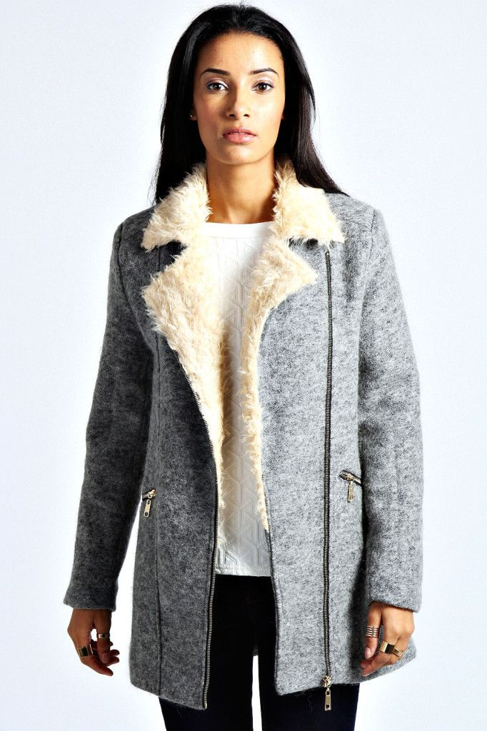 Emma Shearling Collar Wool Coat