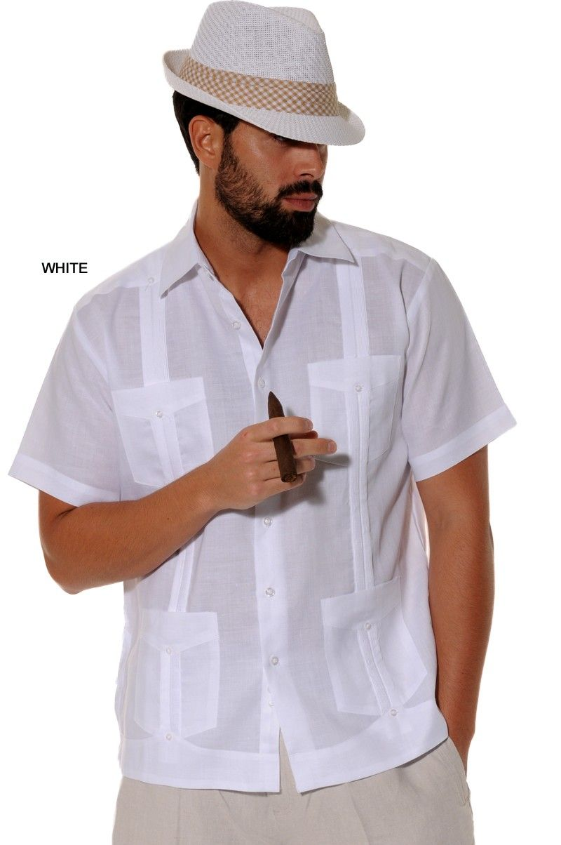 Men 39 s guayabera linen shirt traditional 4 pocket short for Mens short sleve dress shirts