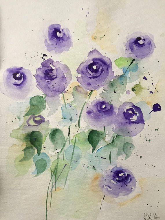 Original Watercolor Painting Art Flowers Meadow Flowers Watercolor