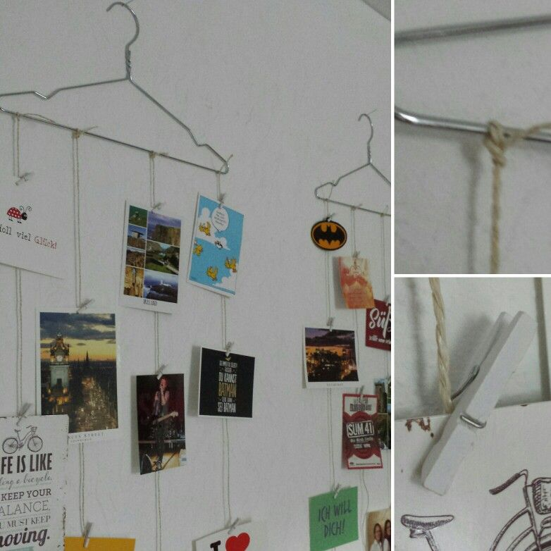Einfach & #günstig #Fotos aufhängen! Mit #Kleiderbügel, #Garn ...