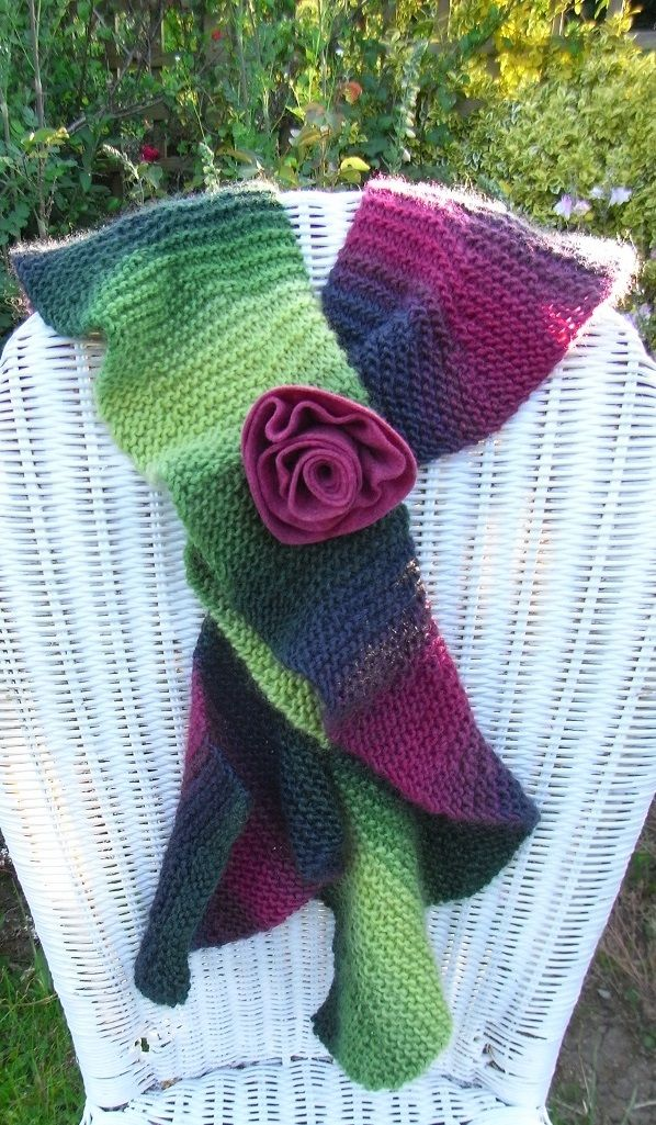 Ruffle Scarf Knitted In Amitola Grande Designed By Fiona Hayhurst