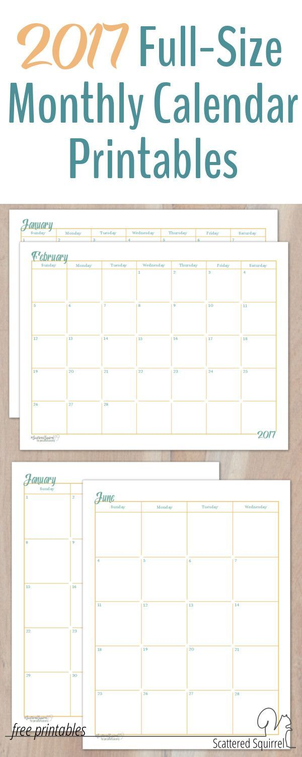 Calendar Sizes Ideas : Full size monthly calendar printables are here