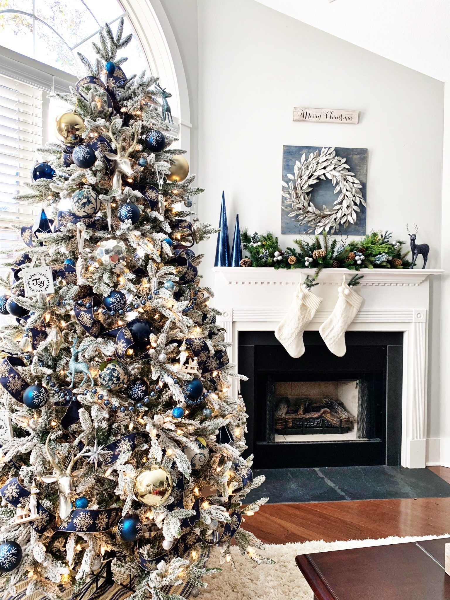 Blue And Silver Christmas Tree For The Living Room 2 Bees In A Pod Blue Christmas Decor Blue Christmas Tree Decorations Elegant Christmas Trees