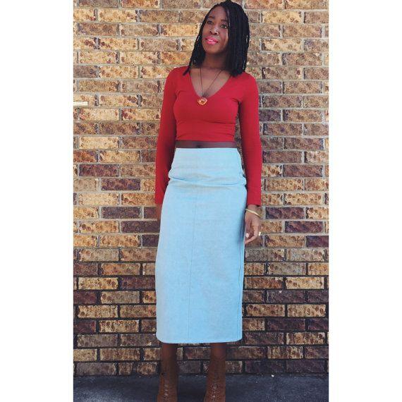 Blu Mid Highewaist Denim Skirt by NigerianHippie on Etsy