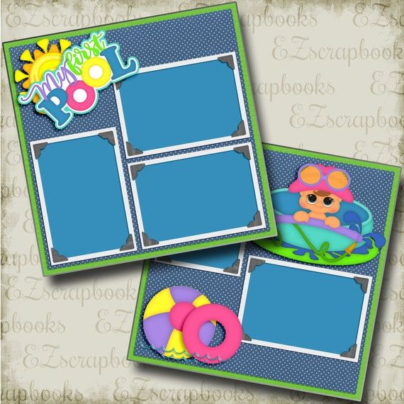 My First Pool - 2 Premade Scrapbook Pages - EZ Lay
