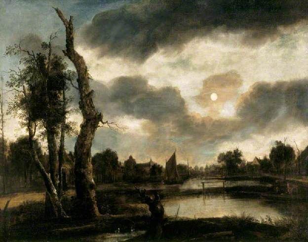 Moonlit Riverscape by Aert van der Neer