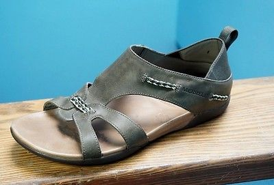 7d667e23e26e Women-039-s-Merrell-Flaxen-Olive-Green-Leather-Gladiator-Sandals-Shoes-Sz-10 -Nice