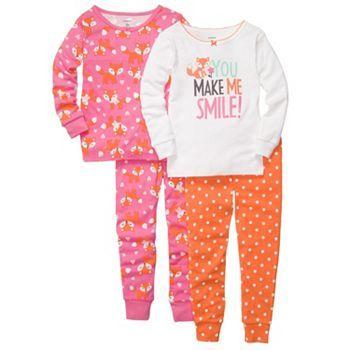 01edc12f7 Carter s 4-pc. Polka Dot and Fox Pajama Set - Girls 4-7