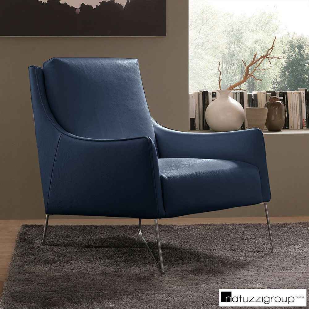 The Natuzzi Navy Top Grain Leather Accent Chair is a