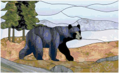 Stained Glass Black Bear Counted Cross Stitch Pattern $9.95 www.TheStitchersArt.com/2121-Stained-Glass-Black-Bear.html