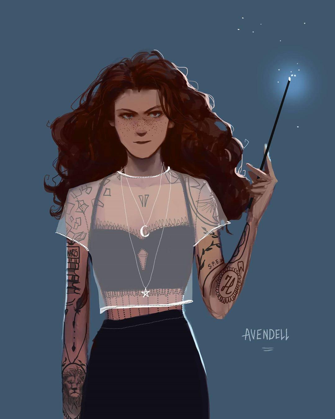 Avendell On Instagram Hermione With Tattoos Hermionegranger Harrypotter Harrypotterfanart Illus I 2020 Harry Potter Harry Potter Bakgrund Bakgrund