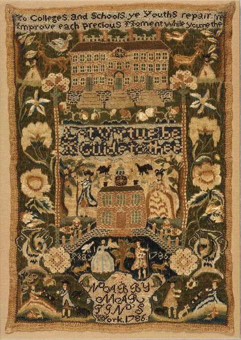 RISD Museum: Nabby Martin, American, 1775-1864. Sampler, 1786. Linen plain weave with silk and metallic-wrapped yarn embroidery. Length: 38.1 cm (15 inches). Museum Appropriation Fund 17.361