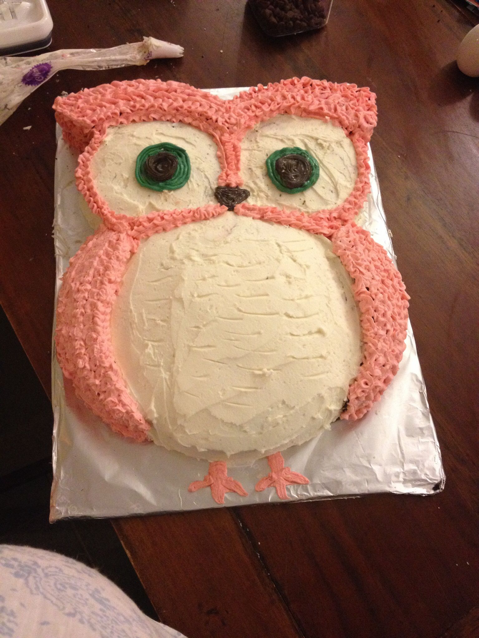 Outstanding My Homemade Owl Cake For My Twin Girls First Birthday Birthday Funny Birthday Cards Online Drosicarndamsfinfo