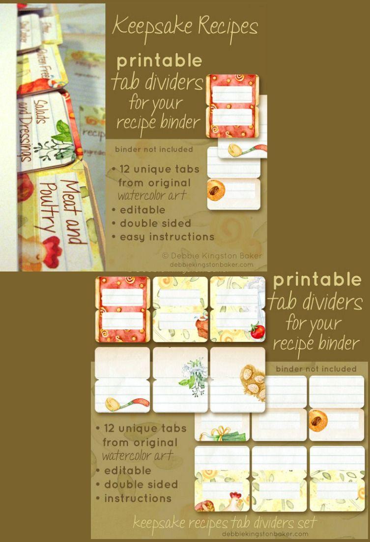 Editable Keepsake Recipe Tabs set of 12, coordinates with Keepsake Recipes printable's sold separately, from original watercolor art #recipes #etsy #affiliate
