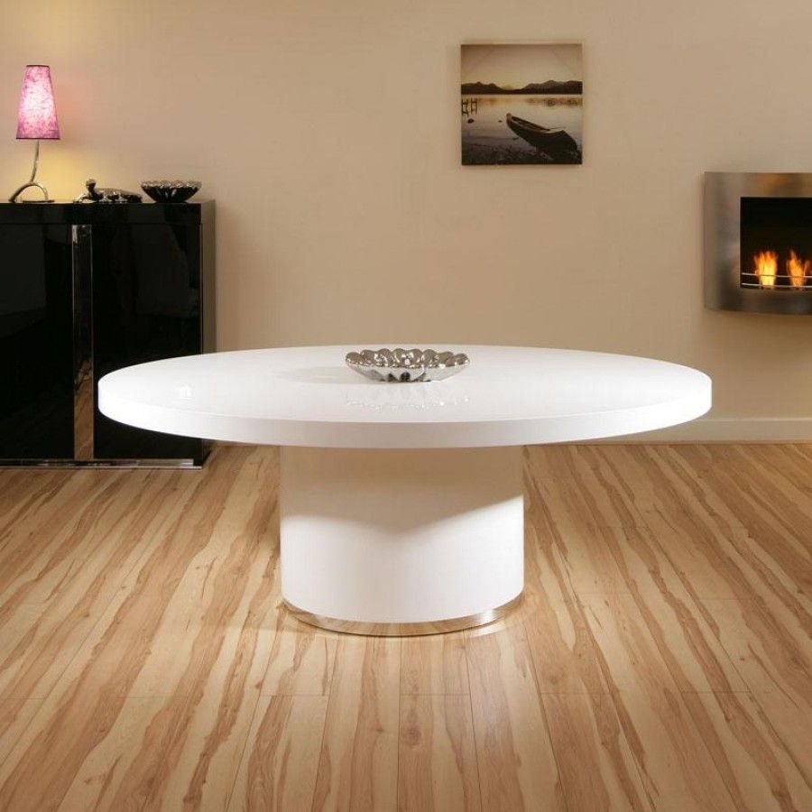 Stunning Modern Luxury Large Oval White Gloss Dining