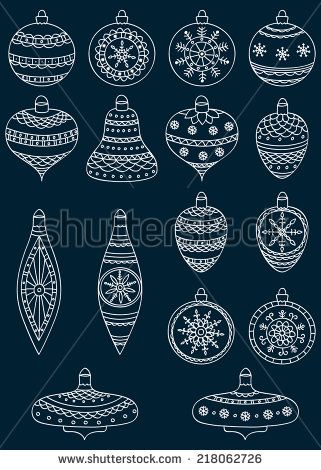 Set Of Hand Drawn Christmas Ball More Window Pinterest Noel