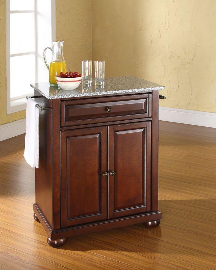 Crosley Furniture KF30023AMA Alexandria Solid Granite Top Portable Kitchen  Island In Vintage Mahogany Finish
