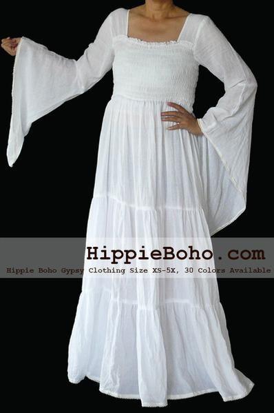 20b0deb3962 No.099 - Size XS-7X Hippie Boho Bohemian Gypsy White Long Sleeve Plus Size  Peasant Maxi Long Dress