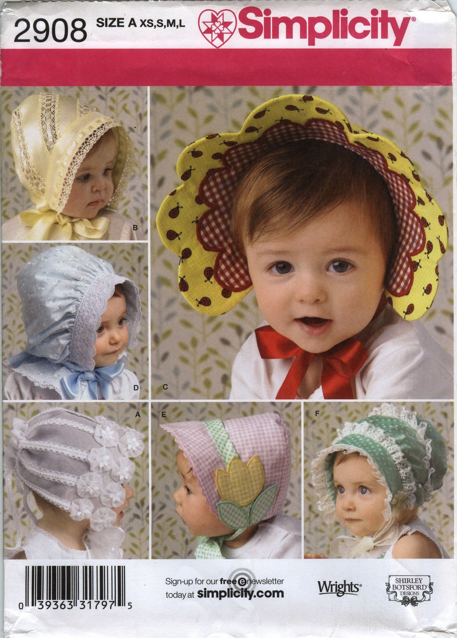 41d1286c346 Simplicity 2908 Babies  Toddlers  Hats in Four Sizes