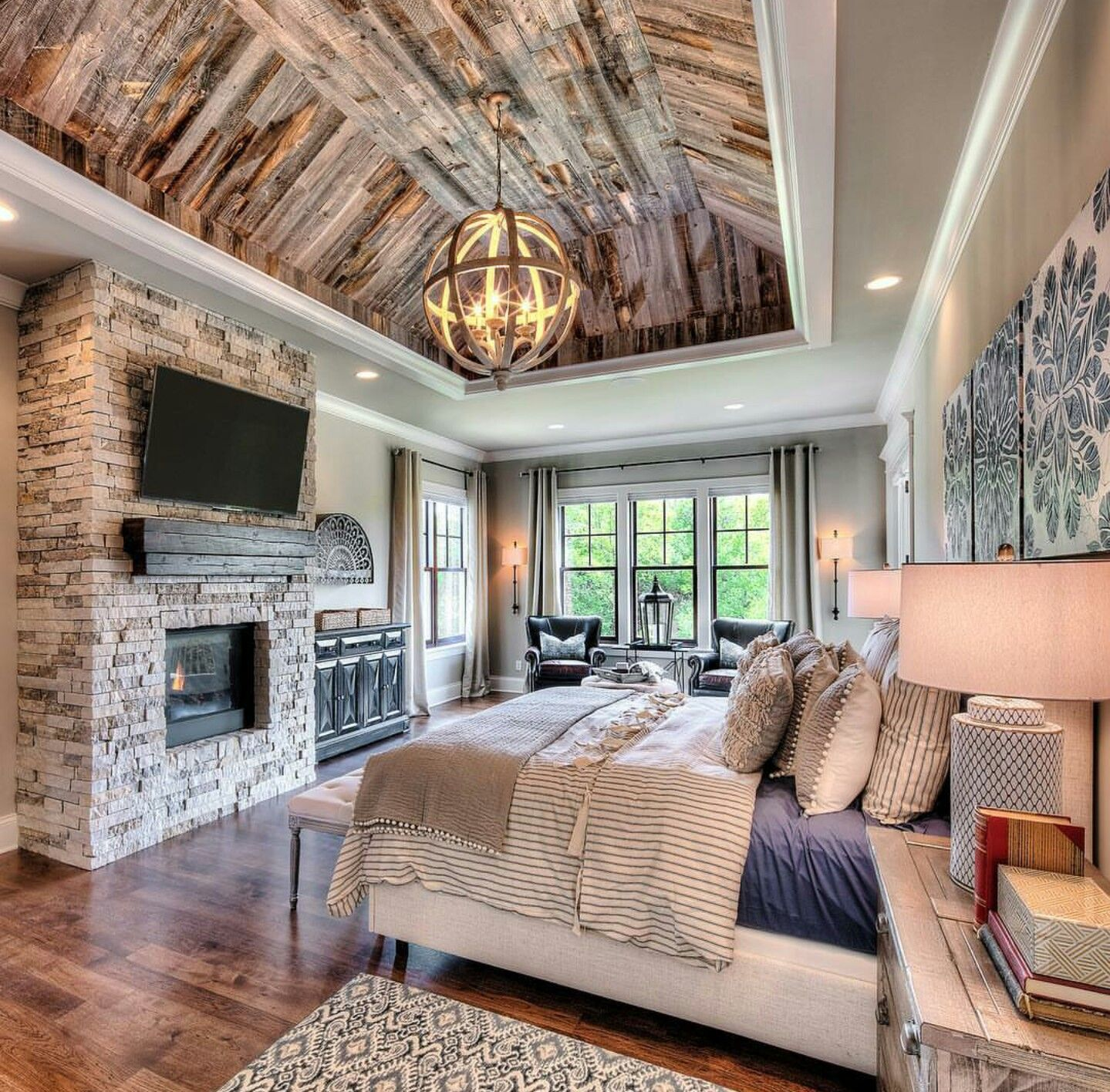 Great Mix Of Rustic And Luxury In This Starr Homes Master Bedroom Home House Home Bedroom