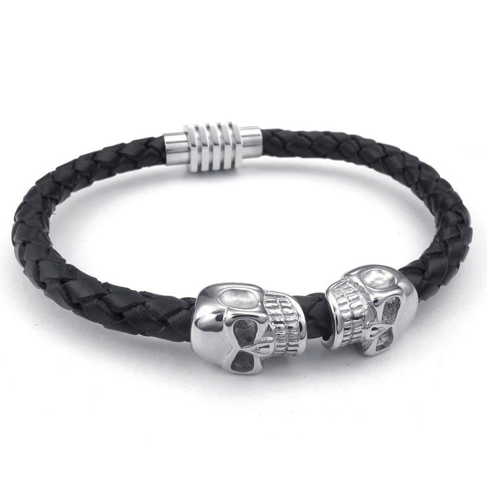 Konov mens leather stainless steel bracelet skull braided cuff