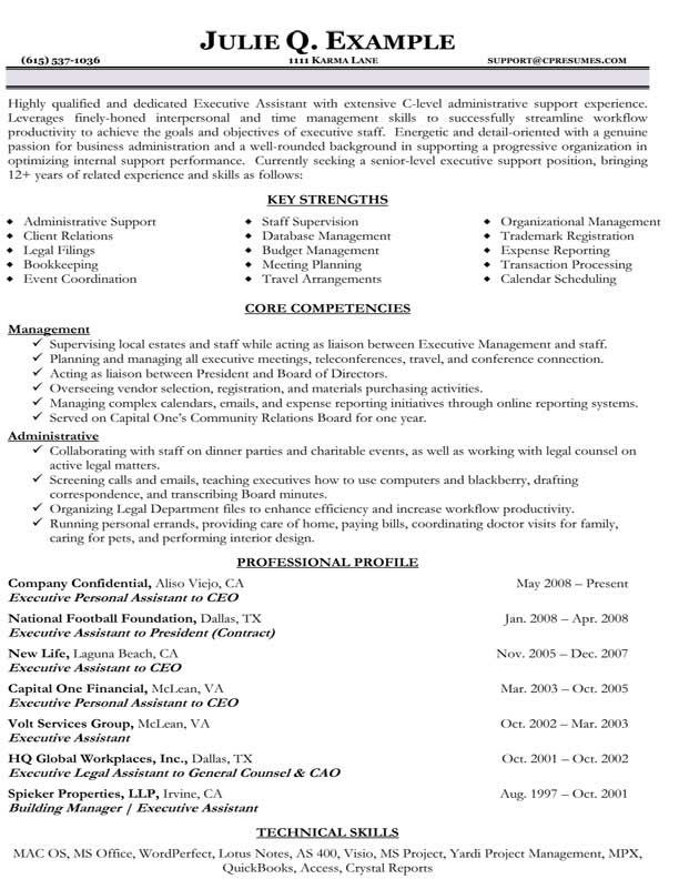 Resume Samples Types of Resume Formats, Examples and Templates - ceo personal assistant sample resume