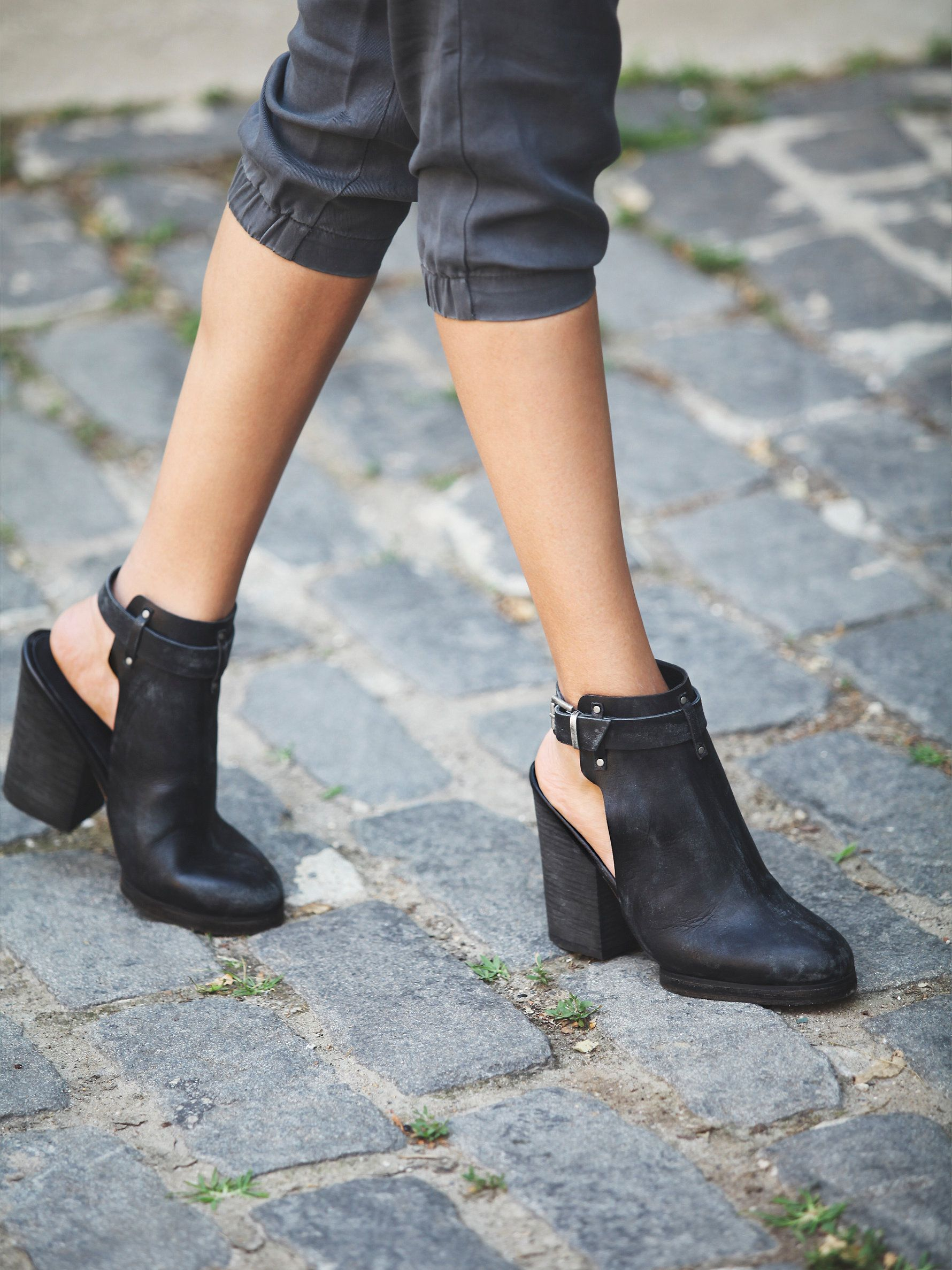 4a653ec9f61aa Distressed leather open back ankle boots with adjustable ankle straps and  chunky stacked heels - free people