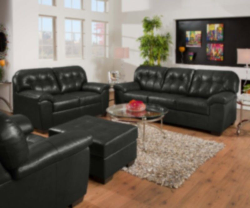 Simmons Upholstery Showtime 2 Piece Bonded Leather Sofa Set In Onyx 9568 2set With Images Living Room Leather Leather Sofa Set Living Room Sets