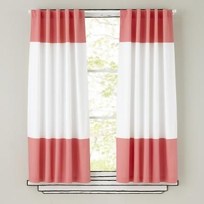 The Land Of Nod Kids Curtains Pink And White Curtain Panels In