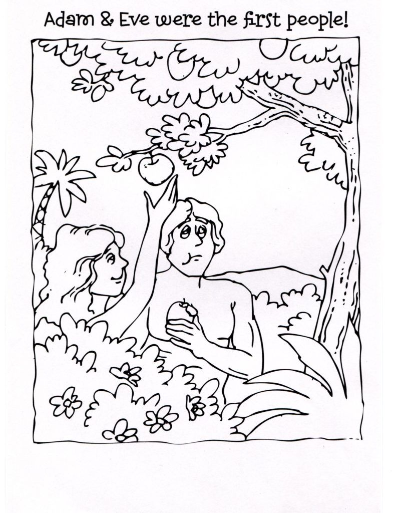 Adam And Eve Coloring Pages For Kids Adam And Eve Coloring