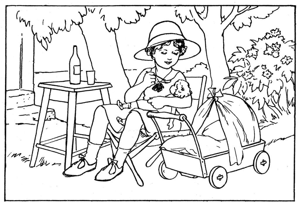 Girl With Baby Doll Coloring Page Coloring Pages Baby Dolls Color