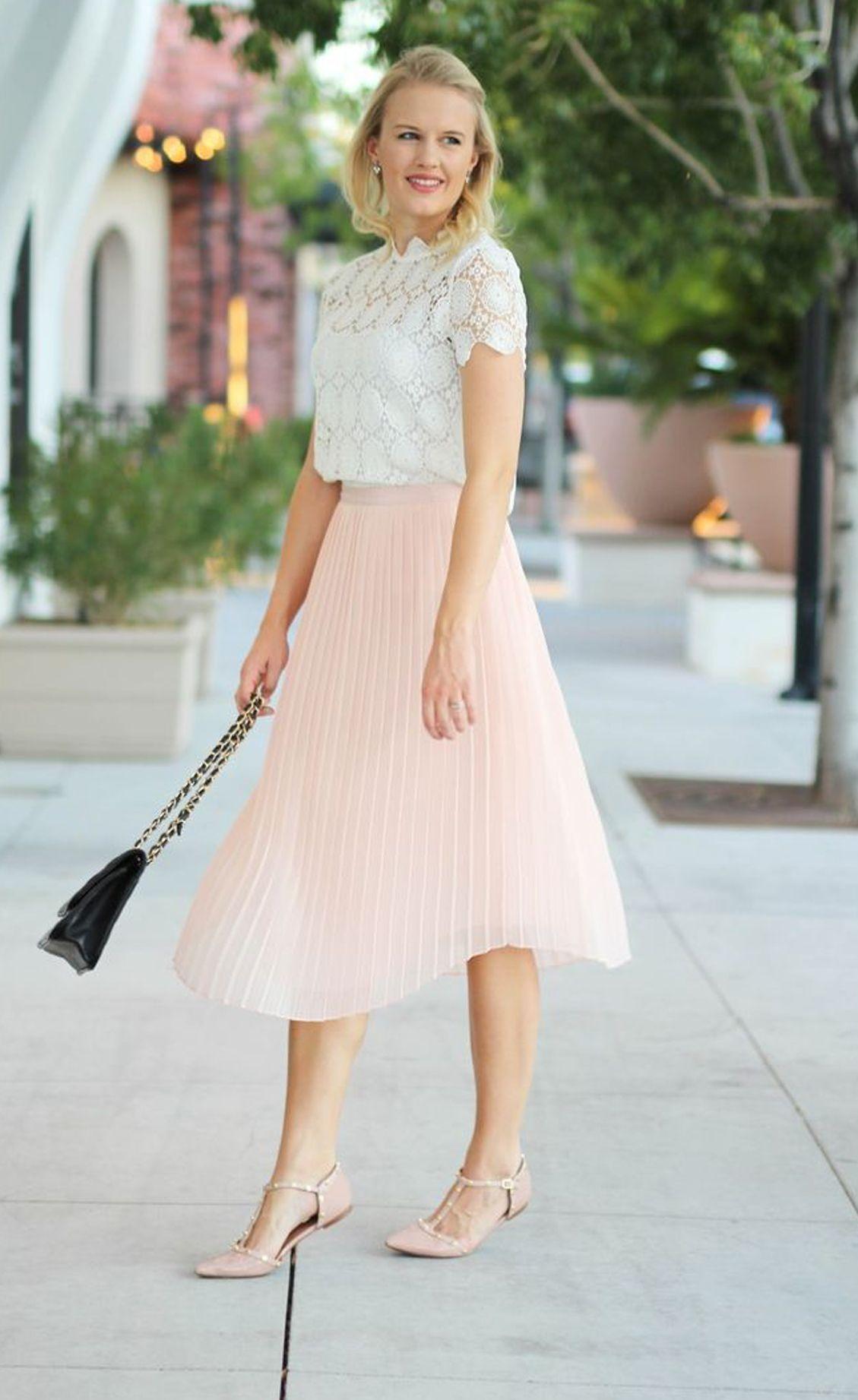 447412419c1 blush pleated midi skirt
